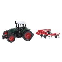 Traktor utánfutóval piros, 20 cm