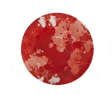 Mělký talíř Valentyne, 6 ks, bílá + červená, červená