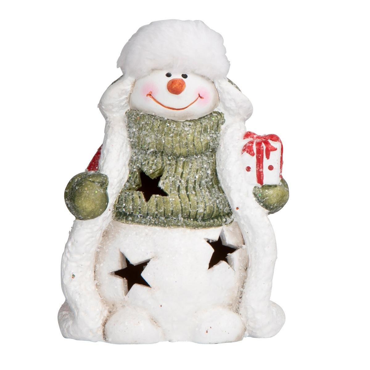 Altom LED dekorace Sněhulák s dárkem, 15 cm