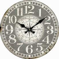 Drewniany zegar ścienny Vintage compass, śr. 34 cm