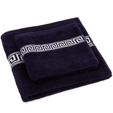 Sada ručníku a osušky Greek tmavě modrá, 50 x 90 cm, 70 x 130 cm