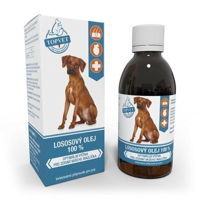 Topvet Lososový olej 100%, 200 ml