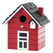 Ptačí budka domeček, červená