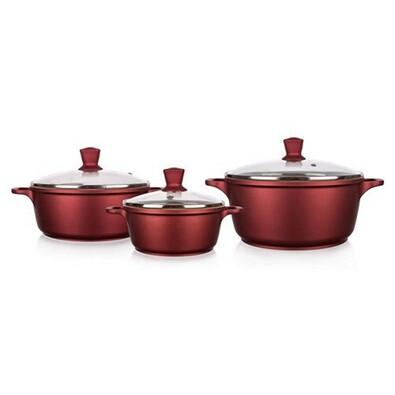 3dílná sada hrnců GOURMET CERAMIA, Banquet, červená