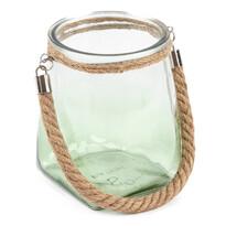 Üveg gyertyatartó, világoszöld