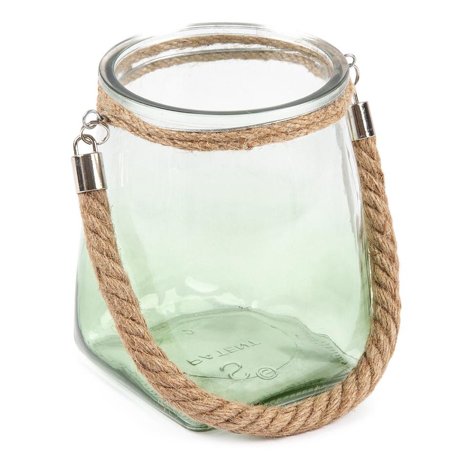 Závesný sklenený svietnik, sv. zelená