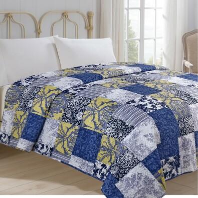 Prehoz na posteľ Modrotlač, 220 x 240 cm