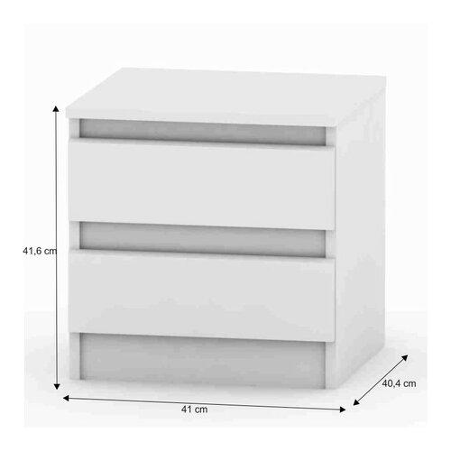 Noční stolek Hany 002, 2 šuplíky, bílá
