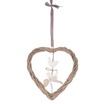 Závěsná dekorace Ratanové srdce s ptáčky, hnědá