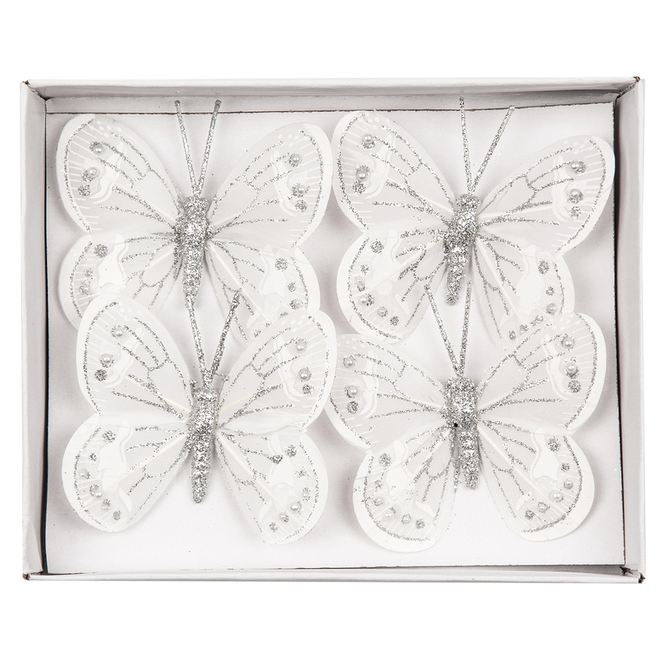 Dekorační motýlci bílá, sada 4 ks