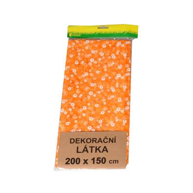 Organza s kvetinovým vzorom oranžová