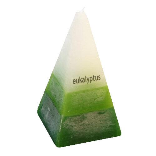 Trzykolorowa świeczka stożek eukaliptusowy
