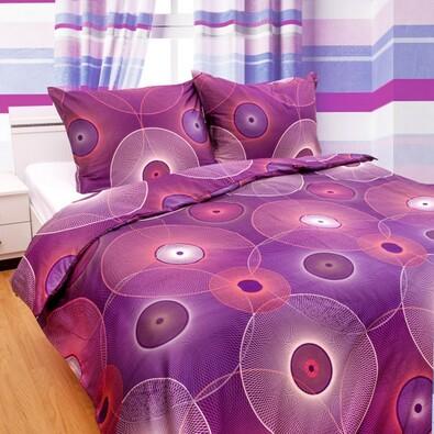 Saténové povlečení Nos Dimension fialové, 220 x 200 cm, 2 ks 70 x 90 cm