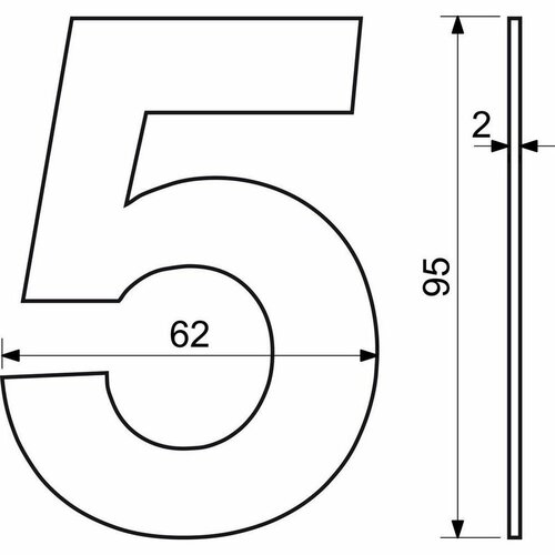 Nerezové domové číslo 6,  2D ploché