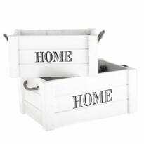 Set de cutii decorative din lemn Home 2 buc, alb