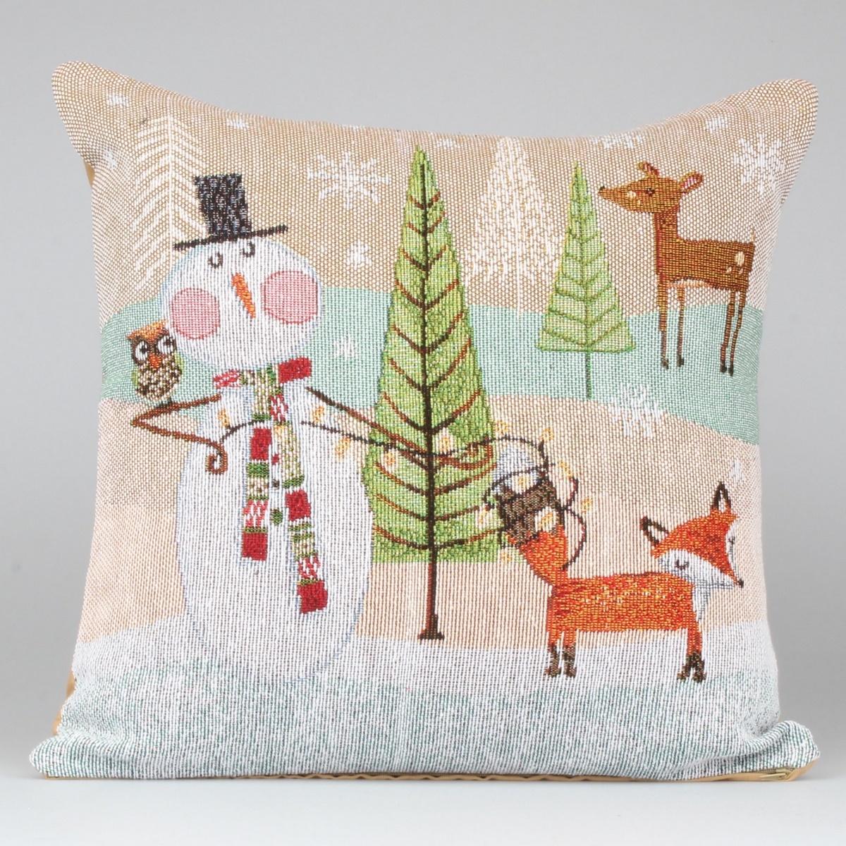 Dakls Vánoční povlak Zvířátka hnědá, 40 x 40 cm