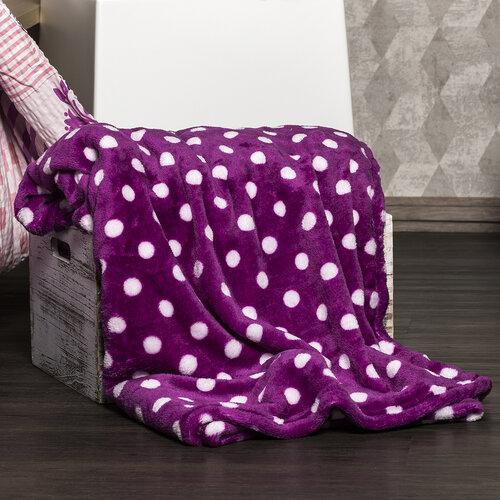 4Home Soft Dreams Pöttyös takaró, lila, 150 x 200 cm
