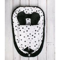 Cuib de bebeluș Belisima Minky Sweet Baby, cu plăpumioară, alb-negru
