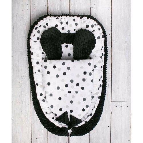 Belisima Hnízdečko pro miminko s peřinkou  Minky Sweet Baby, černo-bílá