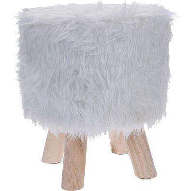 Taburet Fluffy, bílá