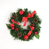 Cora karácsonyi koszorú piros masnival, 25 cm