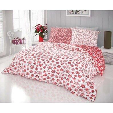 Kvalitex Bavlnené obliečky Vločky bielo-červená, 140 x 220 cm, 70 x 90 cm
