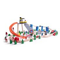 Woody Tor kolejowy ze zjeżdżalnią i żurawiem, 130 elementów