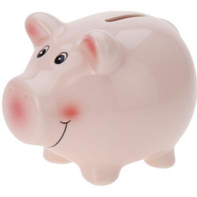 Pokladnička Happy pig ružová, 11,5 x 9,1 x 9,1 cm