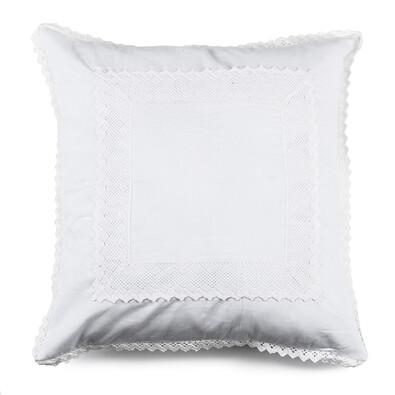 Povlak na polštářek plátěný Vintage bílá, 40 x 40 cm