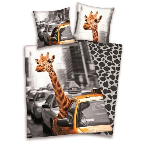 Bavlnené obliečky Žirafa v taxíku, 140 x 200 cm, 70 x 90 cm