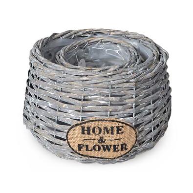 Ratanový kvetináč Home a Flower sivá, sada 2 ks
