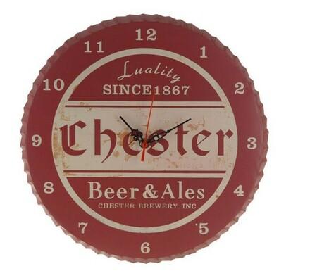 Kovové hodiny Chester, červené, červená, 34 x 1,5 cm