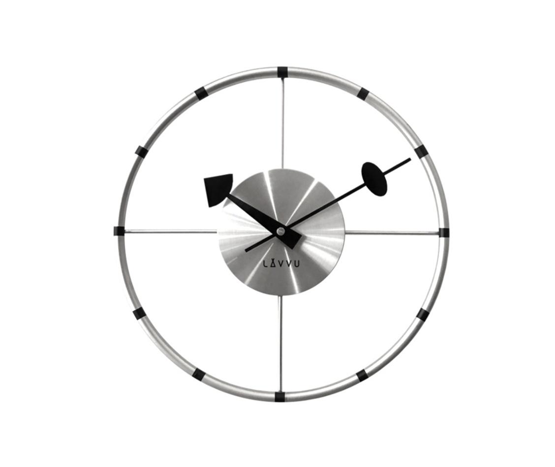 Ceas de perete Lavvu Compass argintiu diam. 31 cm