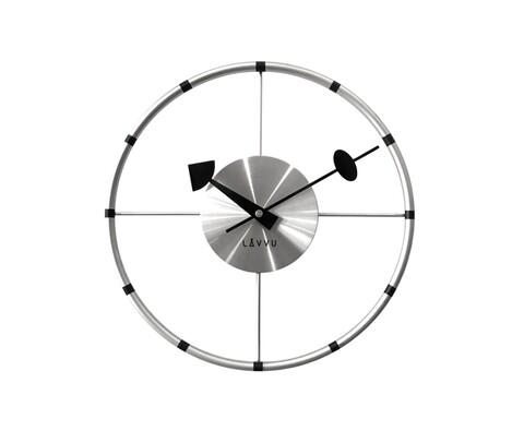 Nástěnné hodiny Lavvu Compass LCT1100 stříbrná, pr. 31 cm
