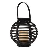 Lampáš s LED sviečkou Lucida, čierna, 22 x 21 x 22 cm