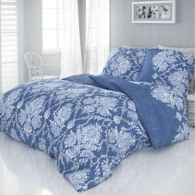 Saténové povlečení Vintage modrá, 140 x 200 cm, 70 x 90 cm