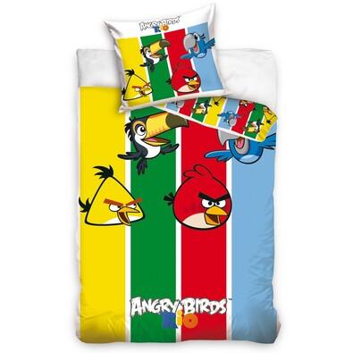 Dětské bavlněné povlečení Angry Birds Stripes, 140 x 200 cm, 70 x 80 cm