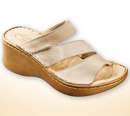 Orto Plus Dámské pantofle na klínku vel. 37 béžové