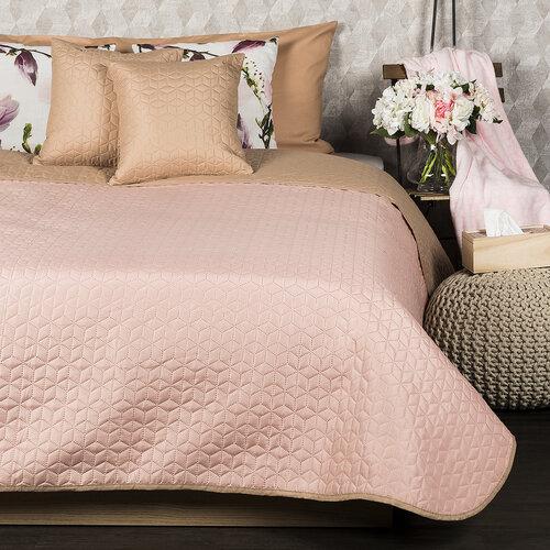 4Home Prehoz na posteľ Doubleface béžová/ružová, 220 x 240 cm, 2x 40 x 40 cm