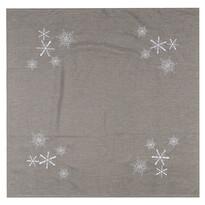 Vánoční ubrus Vločky šedá, 85 x 85 cm