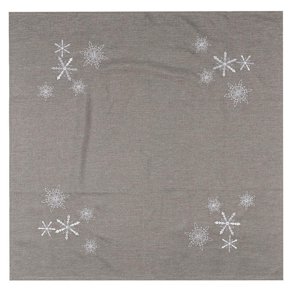 BO-MA Trading Vánoční ubrus Vločky šedá, 85 x 85 cm, 85 x 85 cm