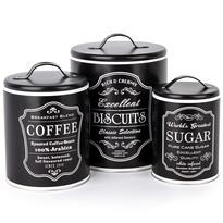 Koopman Komplet pojemników do kawy, ciastek i cukru, czarny