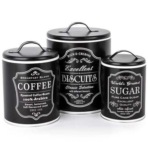 Sada dóz na kávu, sušienky a cukor, čierna