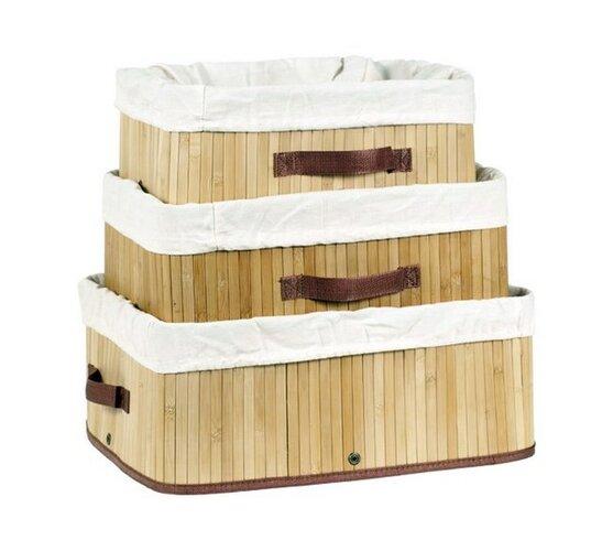 Bambusové koše, sada 3 ks, přírodní, Autronic