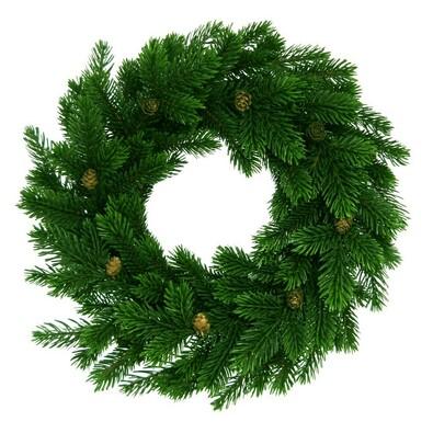 Dekorativní vánoční věnec se šiškami, pr. 35 cm, zelená