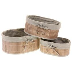 Zestaw koszyków owalnych bambusowych, 3 szt.