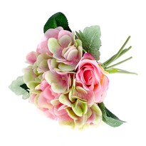 Buchet artificial Trandafiri cu hortensii, roz, 28 cm