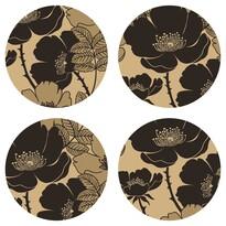 Podložka pod hrnček Flower black, okrúhla, pr. 10 cm sada 4 ks
