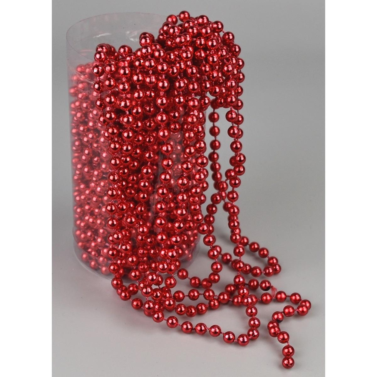 Vánoční perličková girlanda červená, 15 m