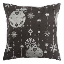 Vianočná obliečka na vankúšik Vianočné ozdoby sivá, 40 x 40 cm
